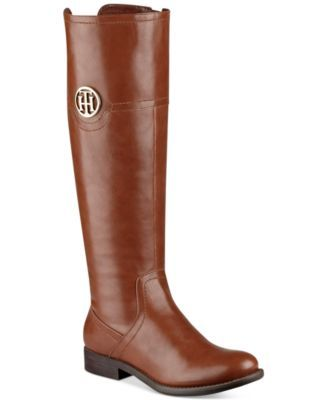 Tommy Hilfiger's Silvana2 wide-calf riding boots make the perfect pairing with skinny jeans or leggings in a traditional silhouette and modest heel. | Manmade upper; manmade sole | Imported | Round cl