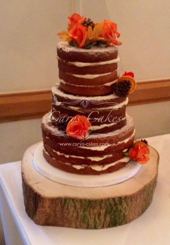 Naked cake with rustic autumnal colours, cake was set up in the King Arthur Hotel, Gower