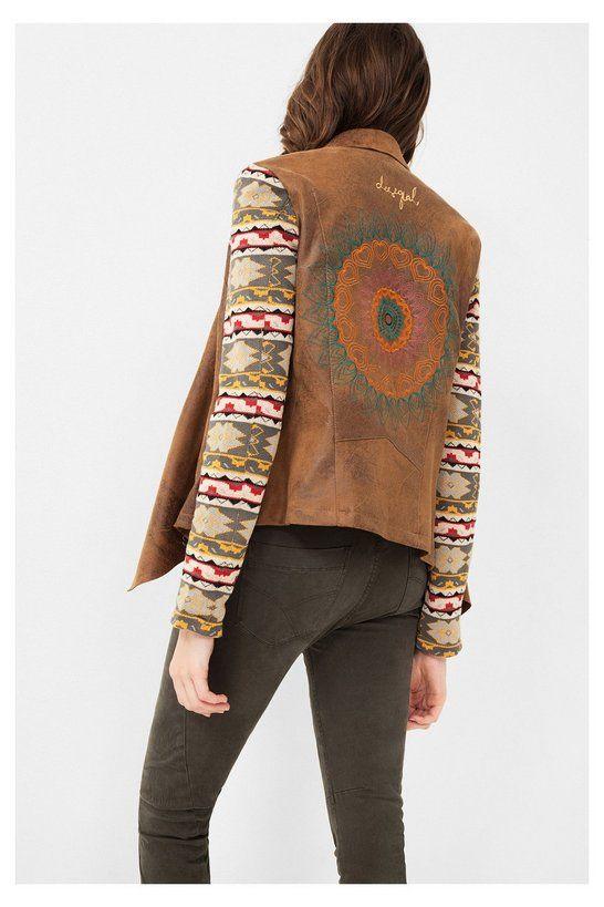 Chaqueta marrón con cuello vuelto | Desigual.com C