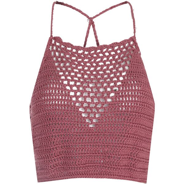 Dusty Pink Crochet Halterneck Crop Top (820 UYU) ❤ liked on Polyvore featuring tops, pink, red top, pink top, crochet crop top, halter neck tops and crochet top