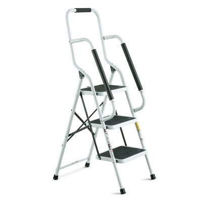 "Grab what you're reaching for easily and securely with these sturdy 4-step and 3-step safety ladders. Includes spongy support handrails for a more secure grip. $79 for three step (53""), $99 for four step (62"")."