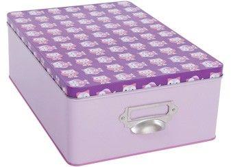 roze/lila metalen opbergdoos met uiltjes Sebra | kinderen-shop Kleine Zebra
