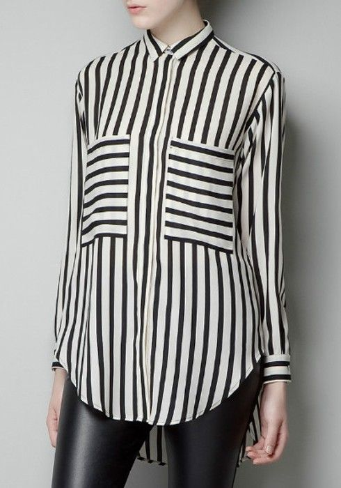 Striped Pockets Lapel Long Sleeve Chiffon Blouse