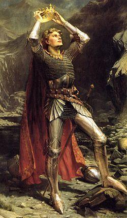 Pintura de Charles Ernest Butler: El Rey Arturo. Éste es un personaje de la literatura europea medieval, especialmente inglesa y francesa, que aparece como el rey ideal, tanto de la guerra como de la paz.