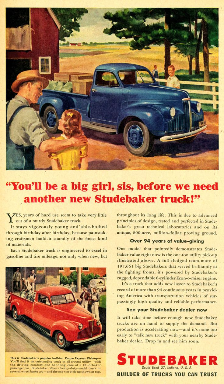 Cool vintage auto advertisement see more 1946 studebaker truck ad 01