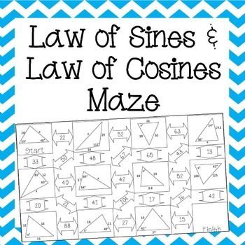 Love this Law of Sines and Law of Cosines Maze!  My Geometry students would like this worksheet / activity.  G.9A Determine the lengths of sides and measures of angles in a right triangle by applying the trigonometric ratios sine, cosine, and tangent to solve problems.