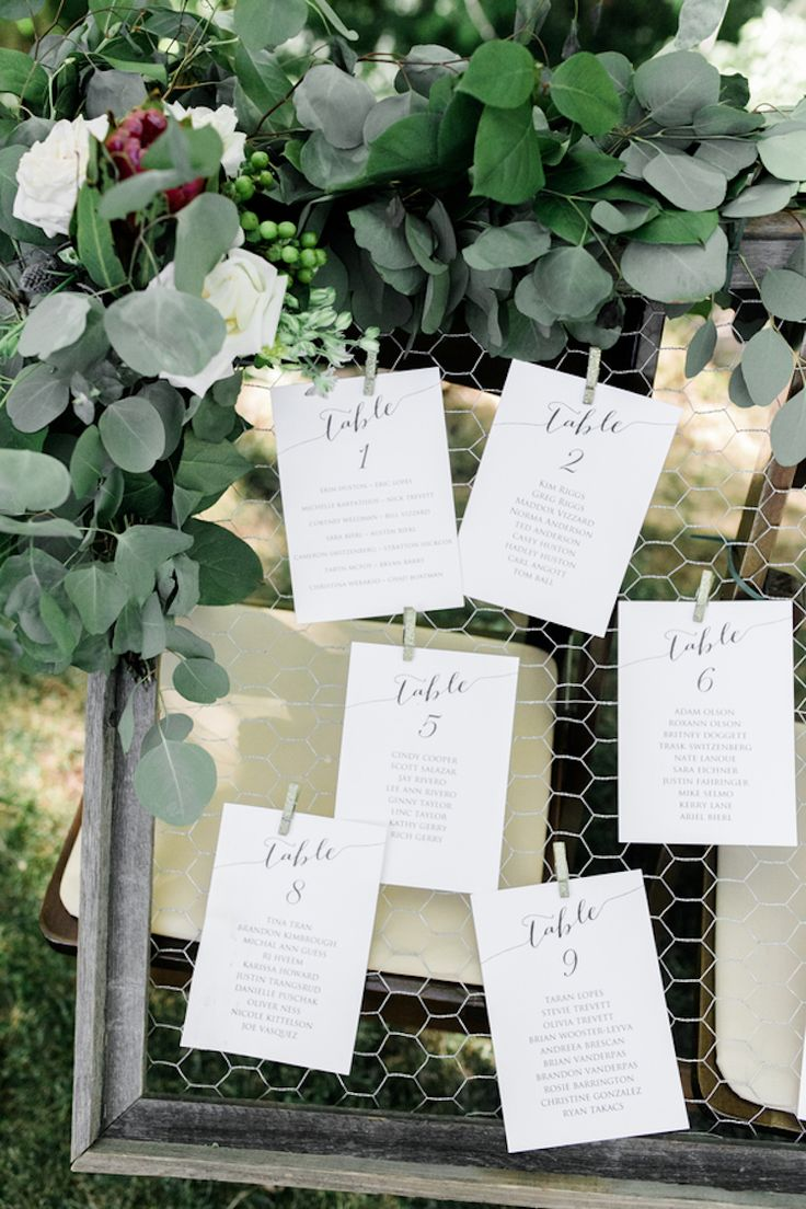 Rustic Eucalyptus Wedding Seating Chart with Calligraphy
