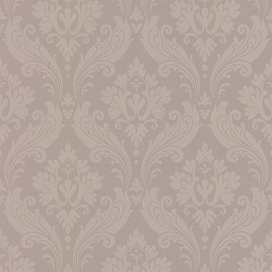 Perfect taupe Faux Vintage Flock wallpaper - Geometric - Home decorating - Home & furniture -