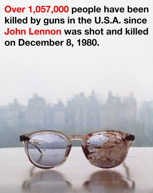 John Lennons bloodstained glasses — the ones he wore when he was fatally shot in the back four times — reemerged in anti-gun tweets from widow Yoko Ono.