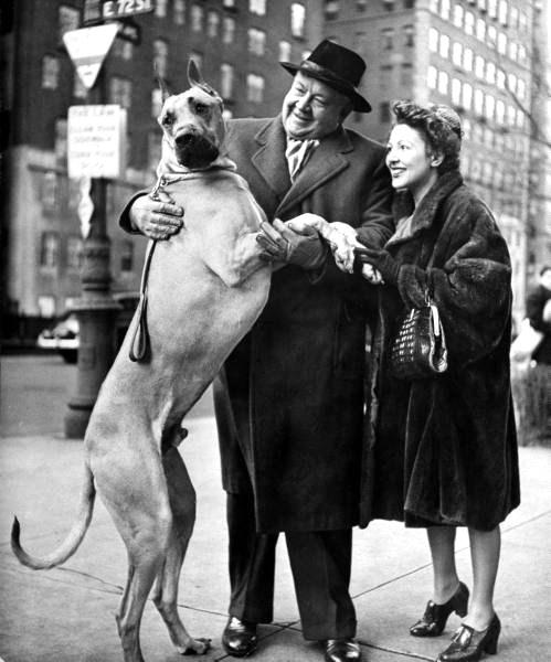 Metropolitan Opera's tenor Helden Lauritz Melchior with his wife, petting his Great Dane dog-NYC - Photo by Nina Leen - 1944