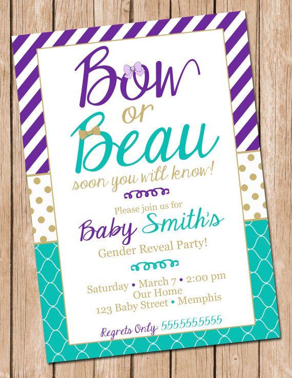 Gender Reveal Invitation Bow or Beau Gender Reveal Invite ...