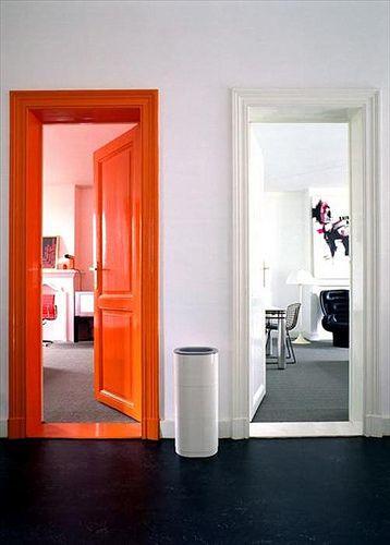 Nice way to add color.  Different coloured doors & floors - orange door, black floor.