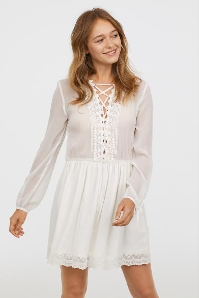 a0f0754ea4 Chiffon dress with lace - White - Ladies
