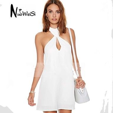 Women's White Dress , Sexy/Beach/Casual/Party/Plus Sizes Sleeveless – CAD $ 15.28