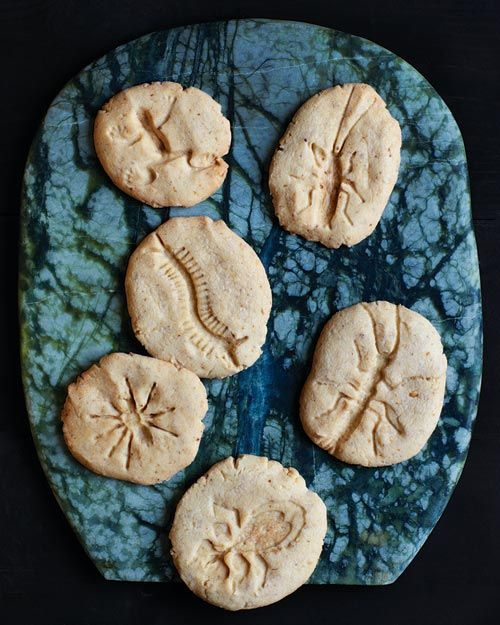 fossil cookies using small, clean, plastic insect toys, dusted in flour, pressed into the dough before cooking.