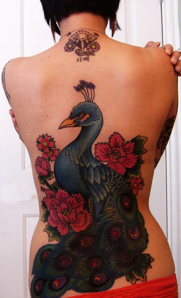 Peacock and Flower Back Tattoo