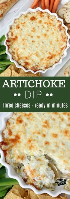 Creamy warm Artichoke Dip filled with three cheeses. An easy crowd-pleasing appetizer. #dip #appetizer #artichokes #cheese #cheesy