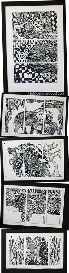 High School Art lesson: Zentangle Triptychs [ART II class]