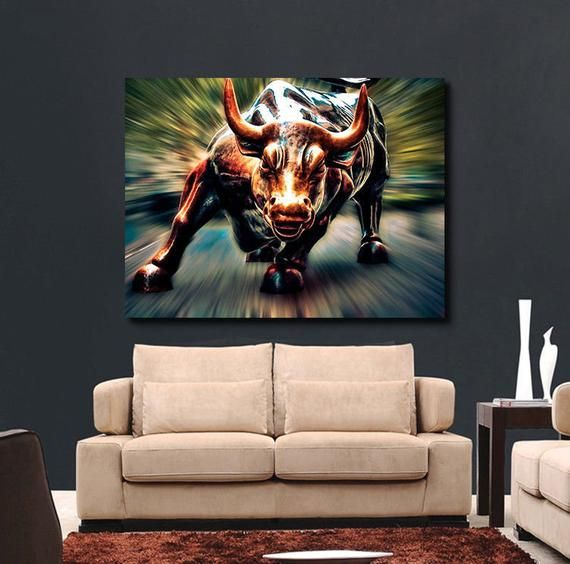 Wall Street Bull Market Art Canvas Or Glossy Pick Size Wolf Of Wall Street Bull Painting Wolf Of Wall Street Canvas Art