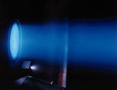 File photo of an ion thruster test firing. Credit: Boeing