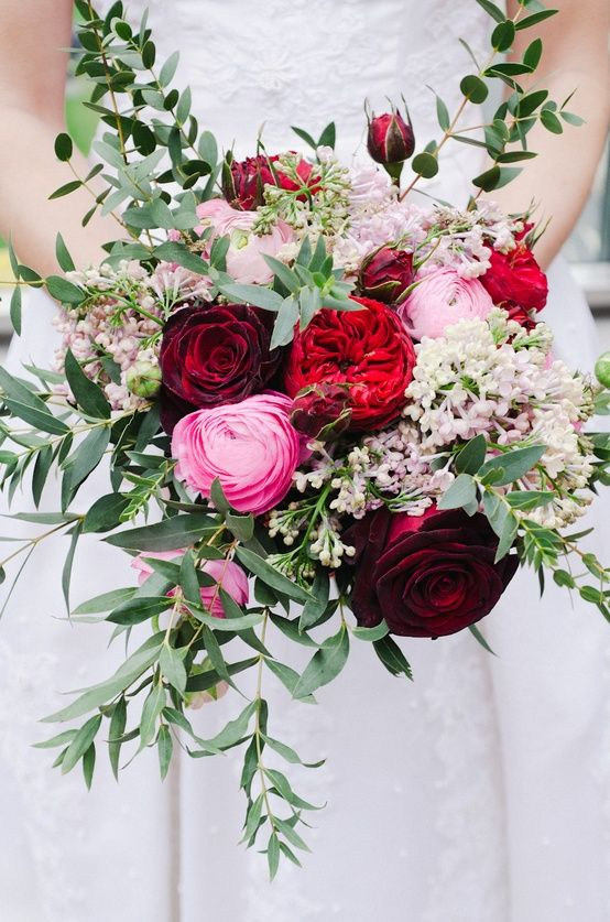 Red and Pink Winter Wedding Bouquet