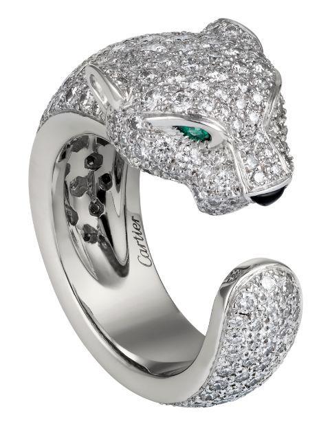 1e9064da9ee36 Panthère de Cartier ring. White gold, diamonds, emeralds, onyx ...