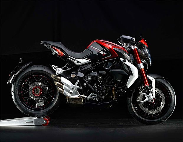 MV Agusta Brutale Dragster 800 RR With images leaked in the lead-up to the EICMA show in Milan next month, MV Agusta's new Brutale Dragster 800 RR is the muscular Italian stallion everyone expected and then some. The lightweight 793-cc triple churns out 140 horses with a hefty 63 foot pounds of torque. The updated design features red anodized fork tubes, red-painted cylinder heads, and an all-new electronic quickshifter.