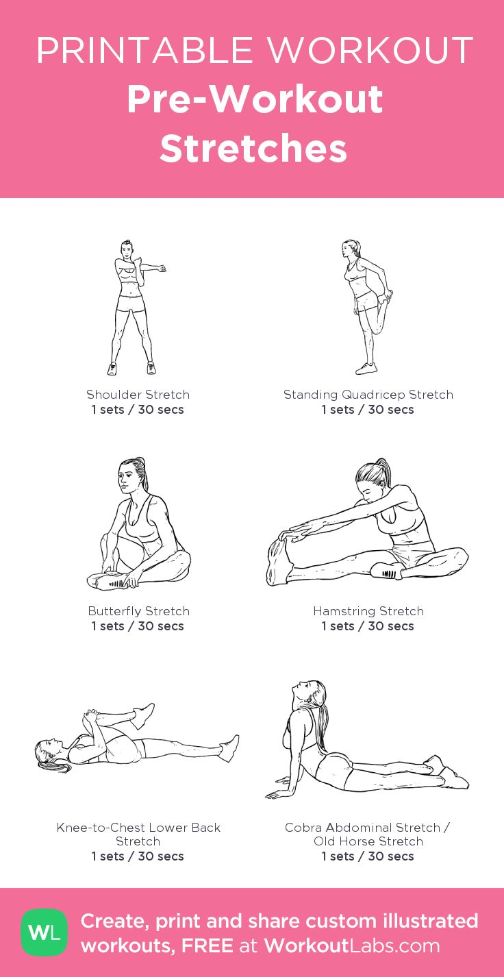 Pre-Workout Stretches: Awesome little site where you can create your own workout!  WorkoutLabs.com • Click through to customize and download as a FREE PDF! #customworkout