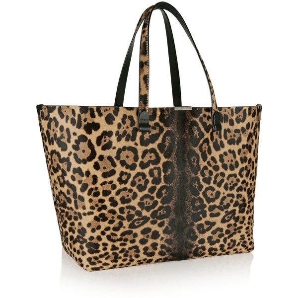 Victoria Beckham Leopard-print calf hair tote ($2,650) ❤ liked on Polyvore featuring bags, handbags, tote bags, leopard purse, laptop tote, leopard print tote and leopard print tote bag