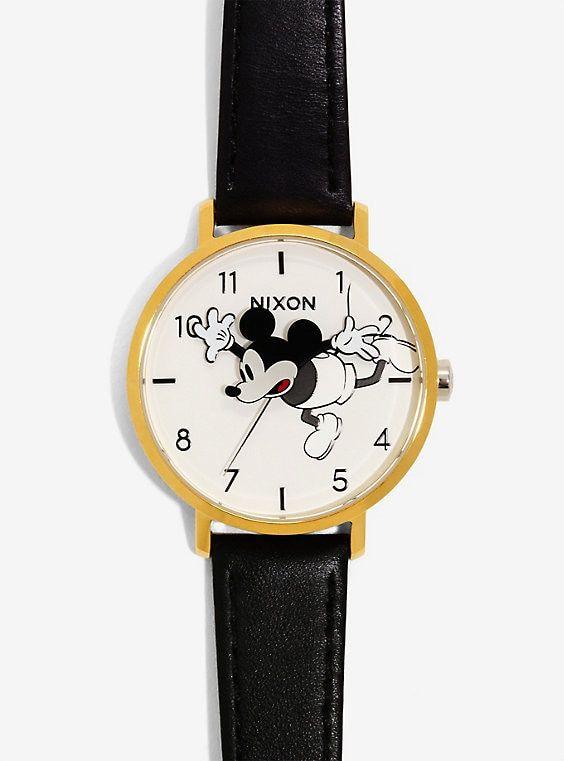 Nixon Disney Mickey Mouse Gold Black Arrow Leather Watch  153853243fa0