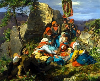The Interupted Pilgrimage (The Sick Pilgrim) 1858 by Fredinand Georg Waldmuller, Austrian painter and writer. This artist is known for having painted Beethoven in 1823 and for his landscapes. What I like about this piece, is the intense sunlight and brilliant color. The vividness here stands out among other paintings of the era.
