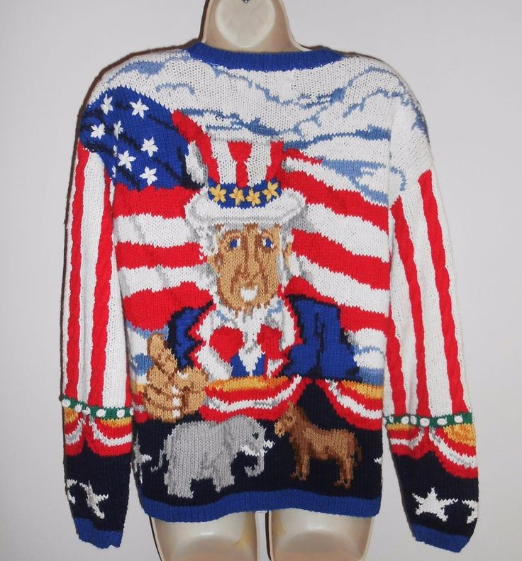 Election Vote Uncle Sam M Cardigan NEW Sweater Patriotic NEW Red White Flag NWT #NorthernIsles #Cardigan