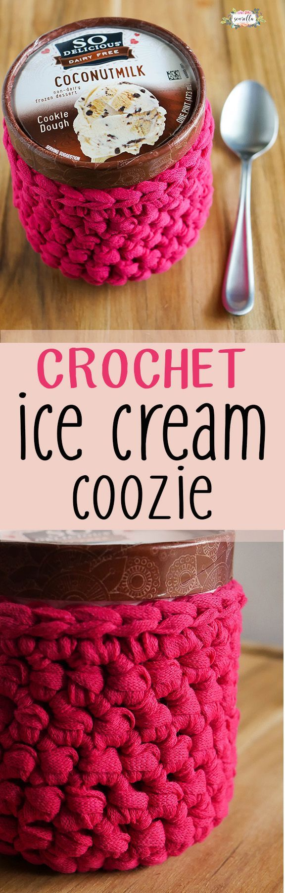 Crochet Ice Cream Coozie - no more frozen fingers after indulging in your favorite pint! Get the free pattern on my blog