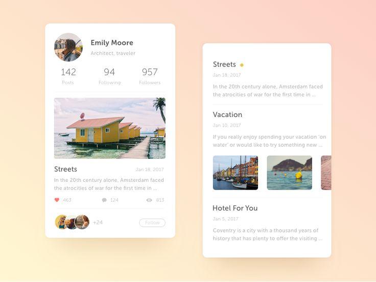 Traveler's Blog App by Valeria #Design Popular #Dribbble #shots