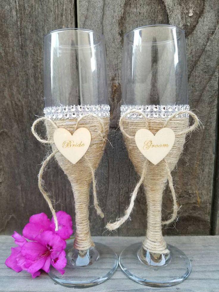 Handmade Rustic Wedding Champagne Glasses for Groom and Bride | Burlap Elegant Flute Glasses | Wedding Gift | Set of 2 for Groom and Bride by LotusenFlower on Etsy