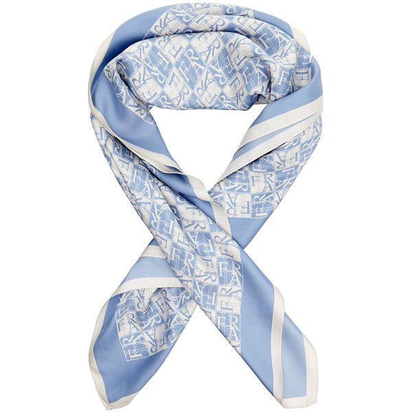 Furla Metropolis Blue Silk Twill Scarf (€46) ❤ liked on Polyvore featuring accessories, scarves, blue, blue scarves, furla, silk twill scarves and blue shawl
