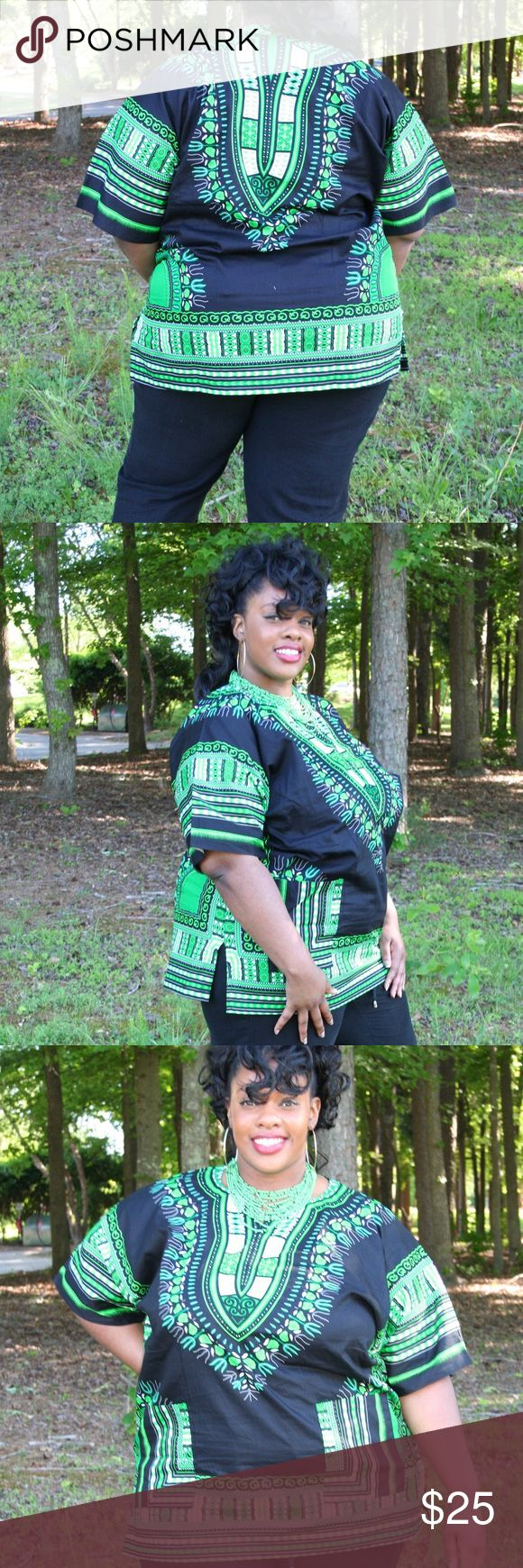 Plus Size Dashiki Shirt Unisex Black and green Dashiki shirt. This shirt is available in size 16-18, 18-20 and 22-24  Features 2 front pockets and 2 side slits for style and comfort. It is made with 100% cotton.   This Dashiki Shirt is available in Orange, Green, Purple, Yellow and Blue. Tops Tunics