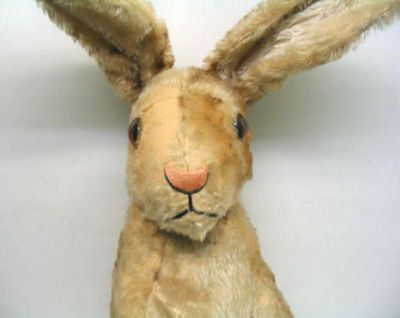 """Vintage 24"""" Steiff Mohair Rabbit. Awww. I had 2 of these little guys. They burned in my housefire."""