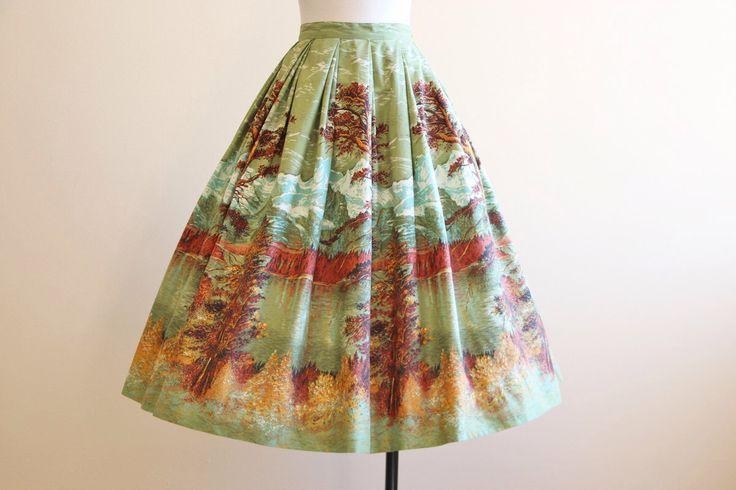 50s Novelty Print Skirt - Vintage 1950s Skirt - Mountain Travel Scenic Border Print Cotton Skirt S - The Grand Tetons by jumblelaya on Etsy https://www.etsy.com/listing/232725687/50s-novelty-print-skirt-vintage-1950s