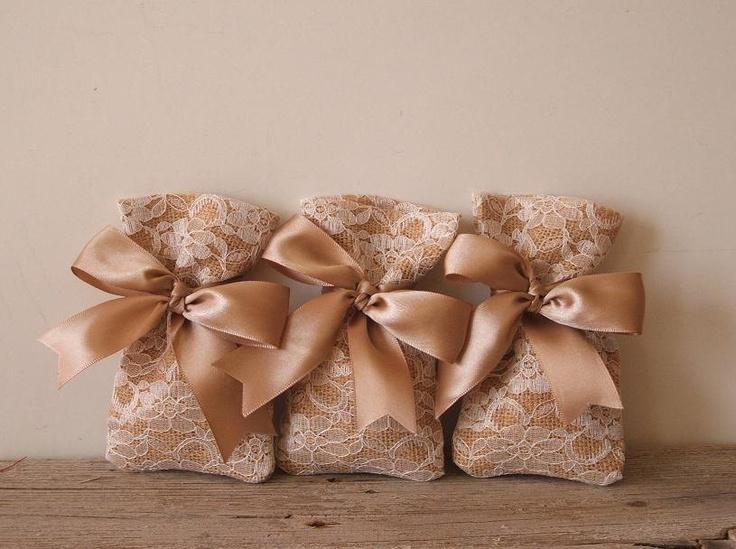 Burlap favor bag (3 pc) lace favor bags rustic wedding favor bag satin bow. $10,00, via Etsy.