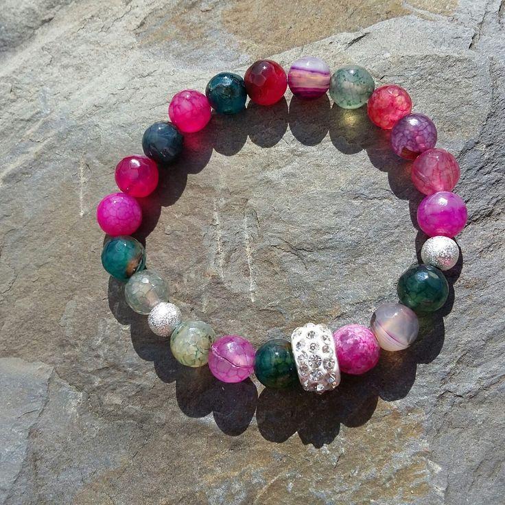 Watermelon Tourmaline love healing power gemstone Bracelet, Reiki/Yoga Bracelet, Meditation wrist mala,Charka Bracelet