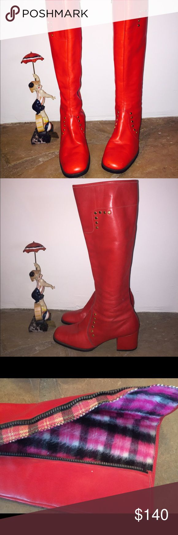 "60s Mod Red Knee High Leather Boots Zip Up Italian Red leather boots with chunky heels, Gold rivets, zip up the with a metal zipper, lined on the inside in fleece  Maker: Rolle Origin: Made in Italy Size: They are marked size 8 1/2  run 1/2 size small   10 insole 3.5"" (at the widest part of the shoe)  2.25"" Heel 15.5"" high from the back of the footbed to the top of the boot 14"" Circumference   Condition: Wonderful condition, no flaws that I can see (no drying) Vintage Shoes"