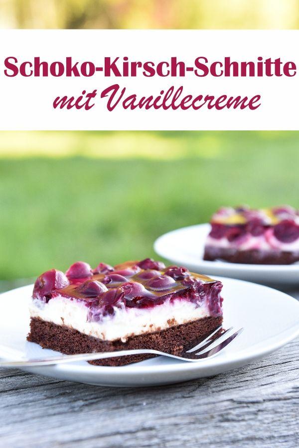 Kirsch-Schoko-Schnitten. Mit Vanillecreme.