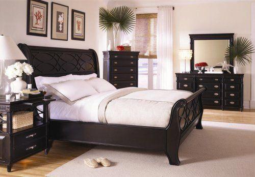black+sleigh+bed Black King Sleigh Bed Master Bedroom Furniture