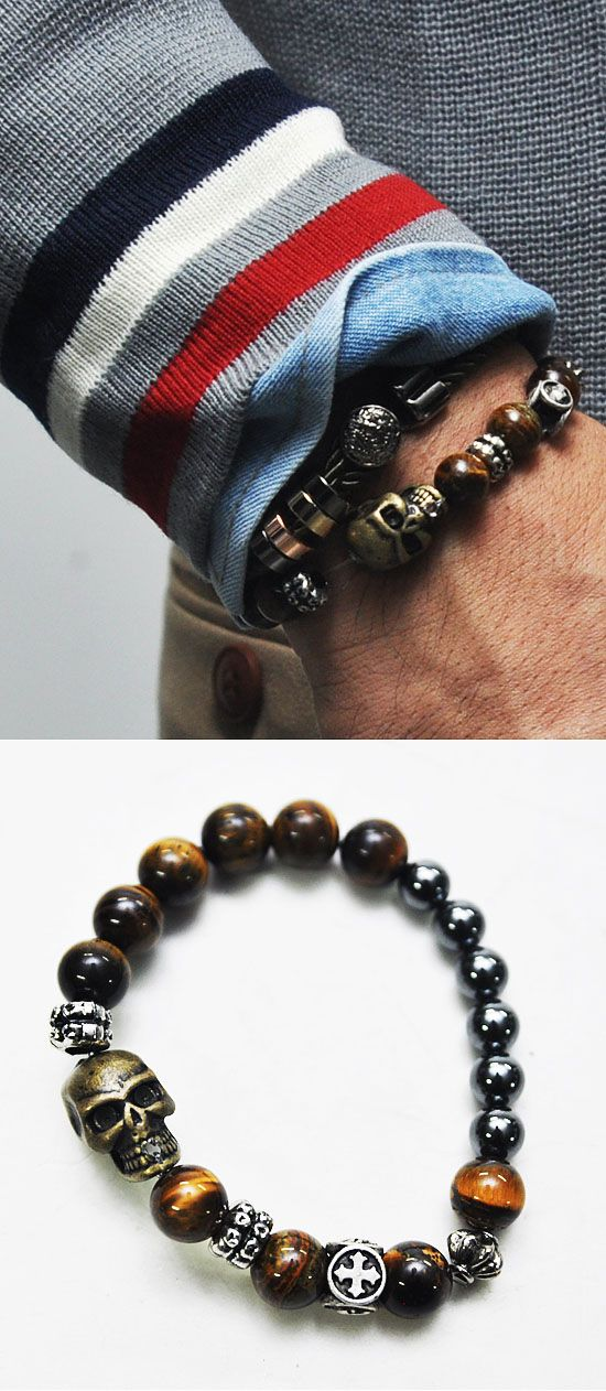 Mens Gradation Real Stone Skull Mix Charm Beads Bracelet By Guylook.com