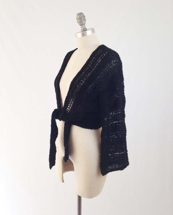 Vintage 70s Tie Front Sweater Loose Knit Cropped by BobcatVintage