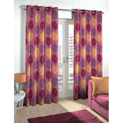 Story@Home Nature Contemporary Basic Eyelet 2 Pieces Polyester Door Curtains, 7 ft, Maroon
