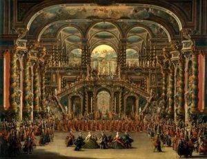 A dance in a baroque rococo palace francesco battaglioli for Define baroque style