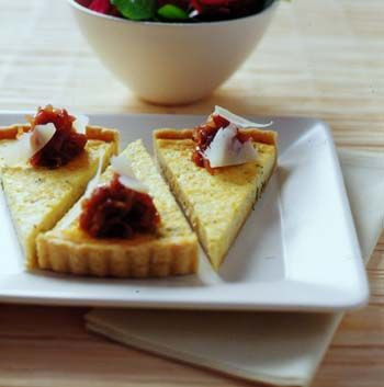 Baked parmesan & thyme tart with red onion jam