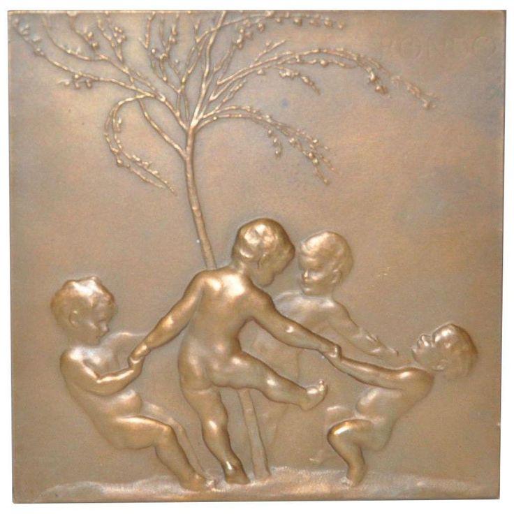 Lovable Stephan Schwartz Art Nouveau Bronze Plaque | eBay